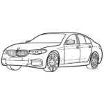 BMW 5 Coloring Page – BMW 5-Series F90 Line Art