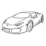 Lamborghini Huracan Coloring Page – Line Art