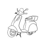 Scooter Coloring Page – Vespa Line Art