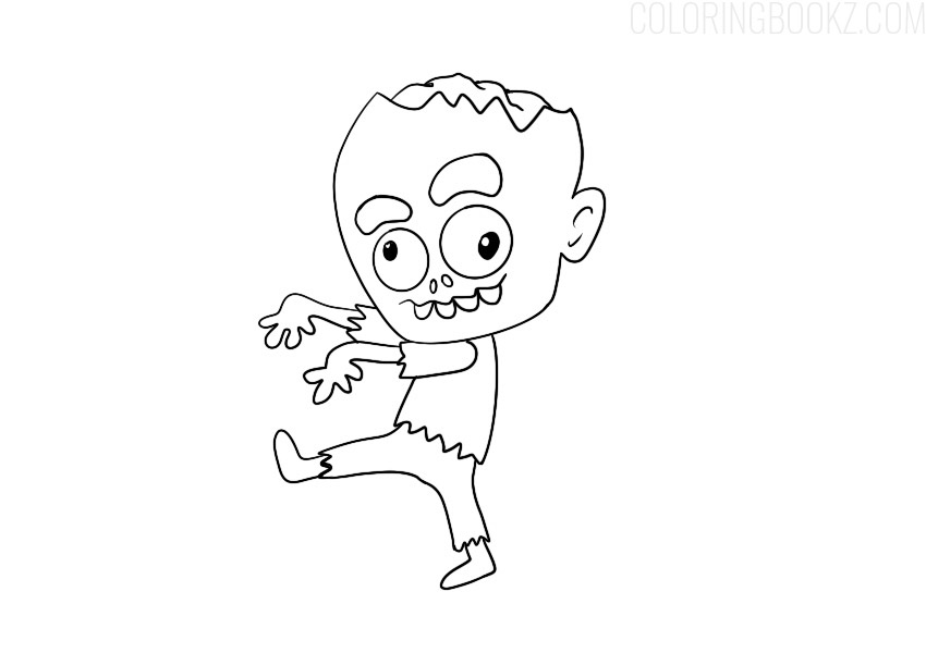 Cartoon Zombie Coloring Page
