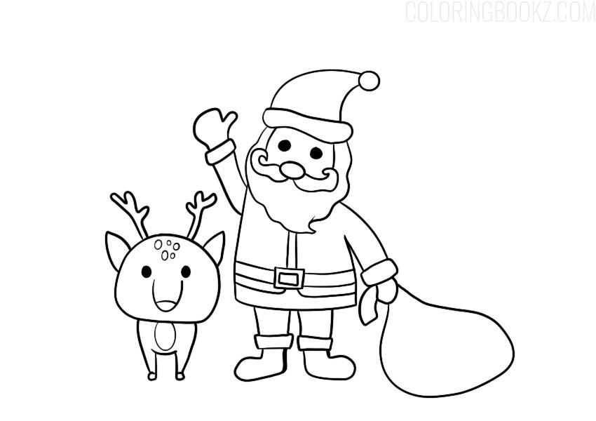 Cartoon Santa Coloring Page
