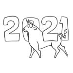 2021 New Year Coloring Page