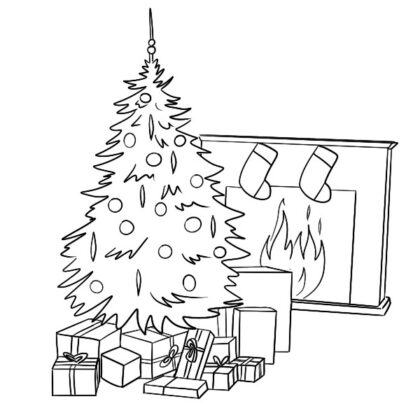 Christmas Scene Coloring book free printable pdf