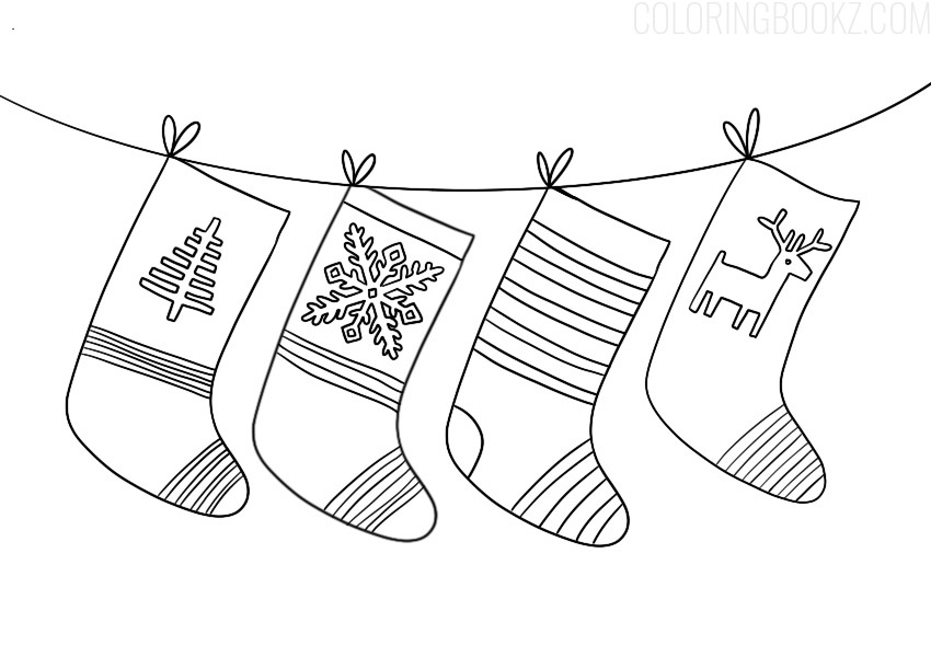 Christmas Stockings Coloring Page Coloring Books