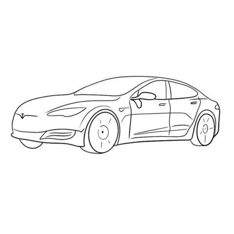 Tesla Model S Coloring Book