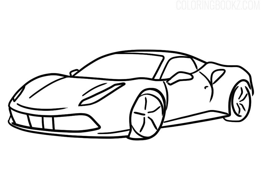 Ferrari 488 GTB Coloring Page