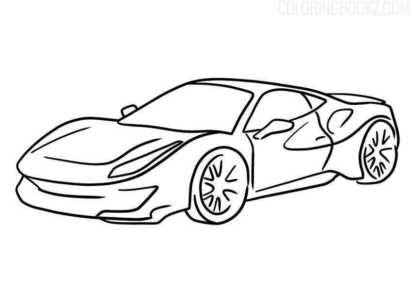 Ferrari 488 Pista Coloring Page