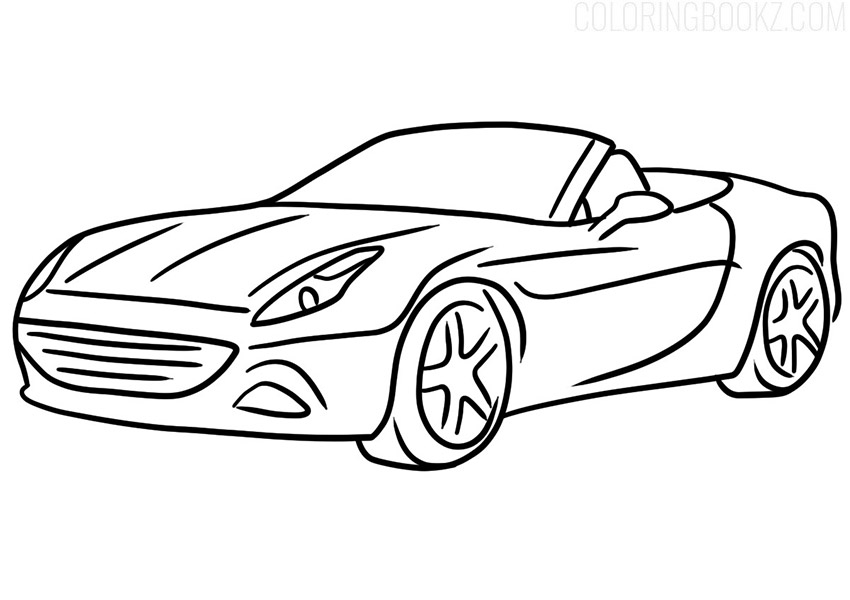 Ferrari Cabriolet Coloring Page